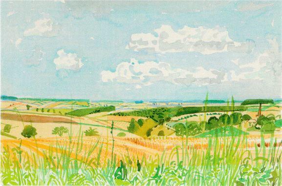 Looking towards Huggate Late Summer by David Hockney