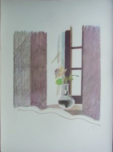 Plate Signed Print of Rose in a Window by David Hockney