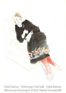 David Hockney - Celia In A Black Dress With Coloured Border - 1981